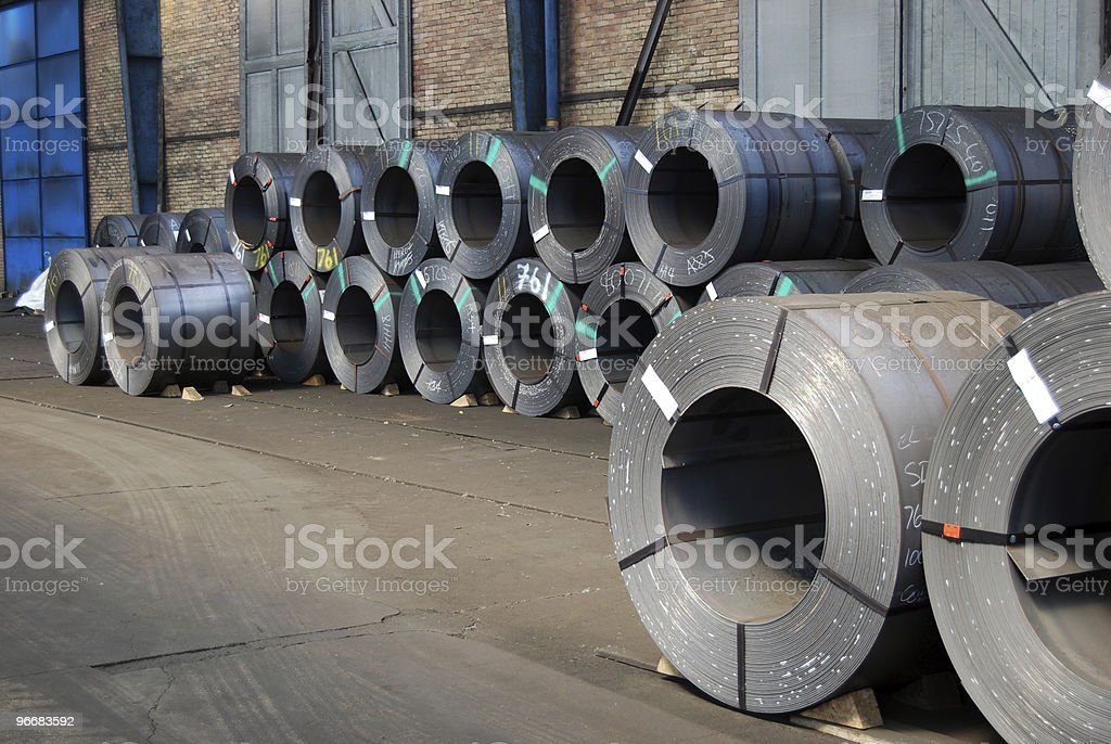 Coils of steel sheet in warehouse stock photo