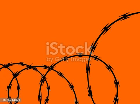 Coils or circles of  razor wire on an orange background.