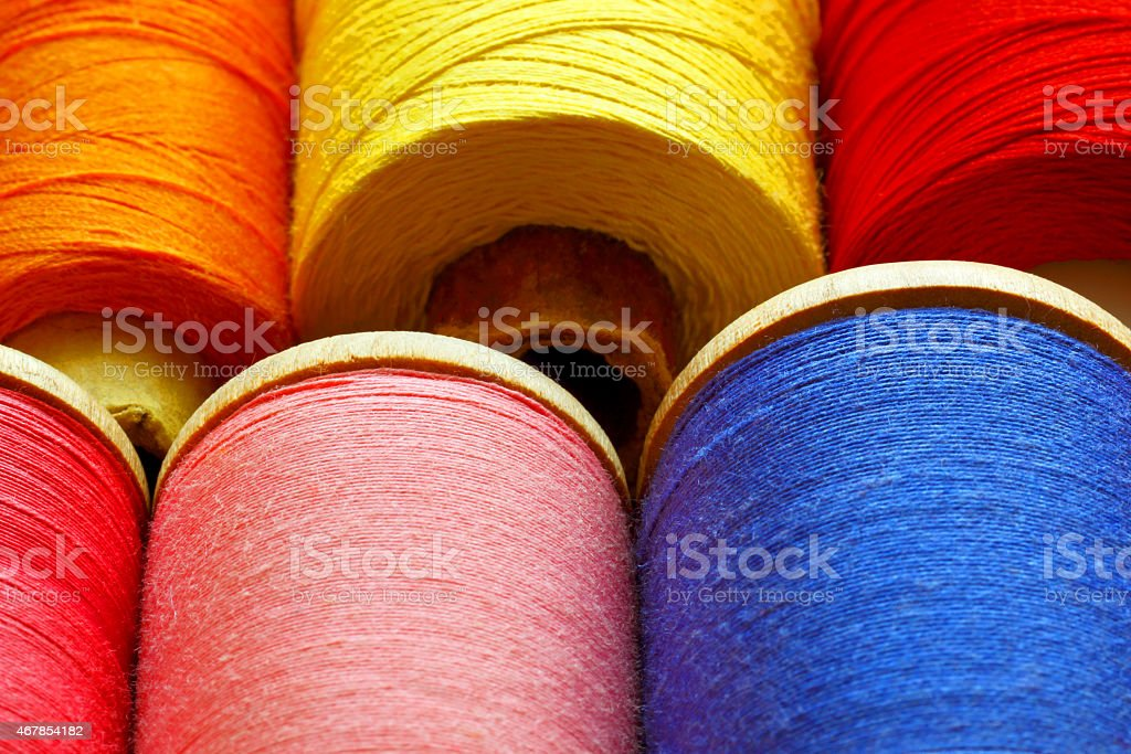 Coils with color threads. stock photo