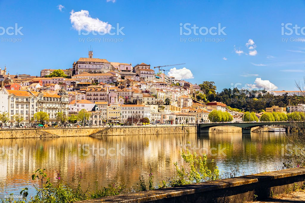 Coimbra Mondego River and University stock photo