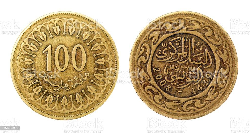 Coin 100 millim. Tunisian Republic stock photo