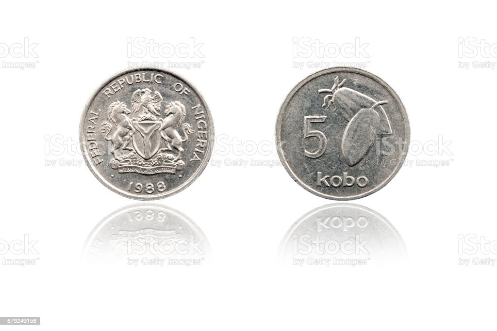 Coin 5 kobo with mirror reflection. Republic of Nigeria. 1988 stock photo