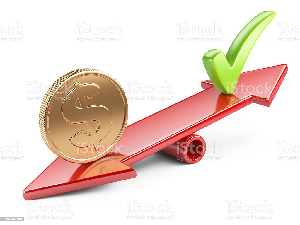Coin and check mark on seesaw stock photo