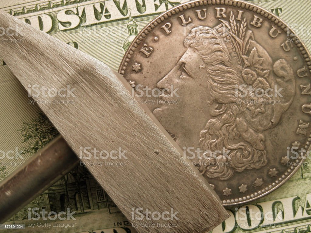 US Coin, banknote and hammer as finance symbols stock photo
