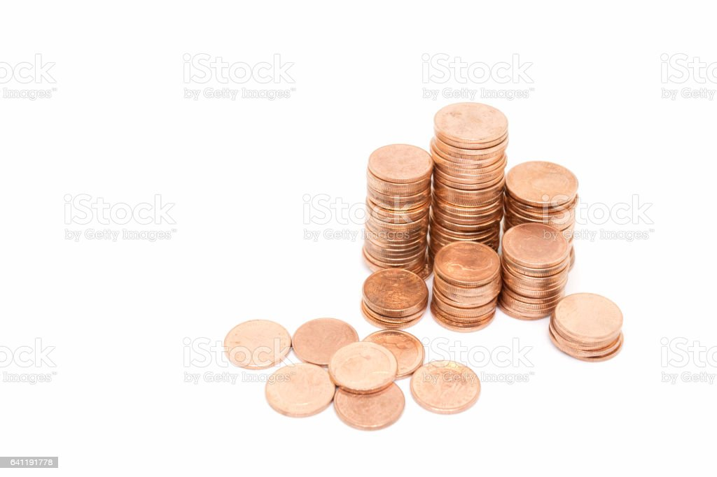 coin, bronze coin stack isolated on white background stock photo