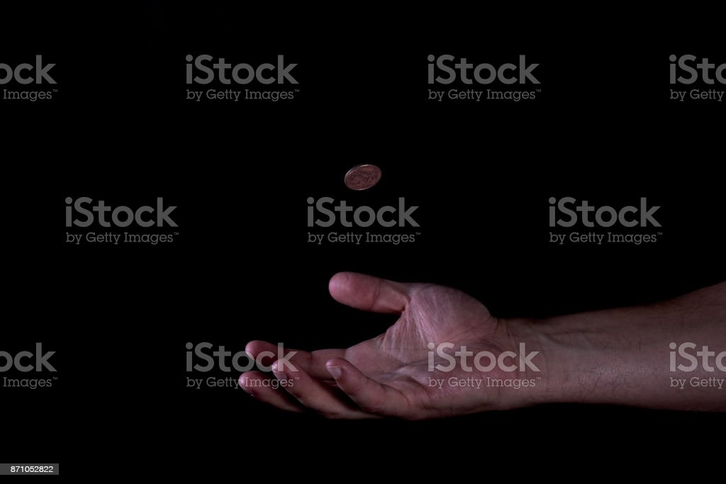 Coin Catching stock photo