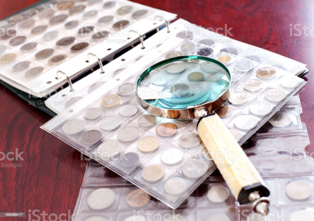Coin Collection on the table stock photo