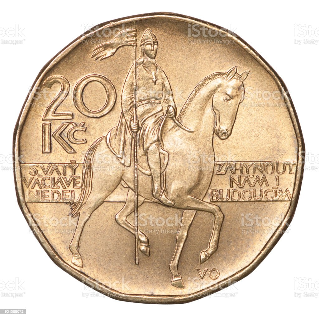 Coin Czech korun stock photo