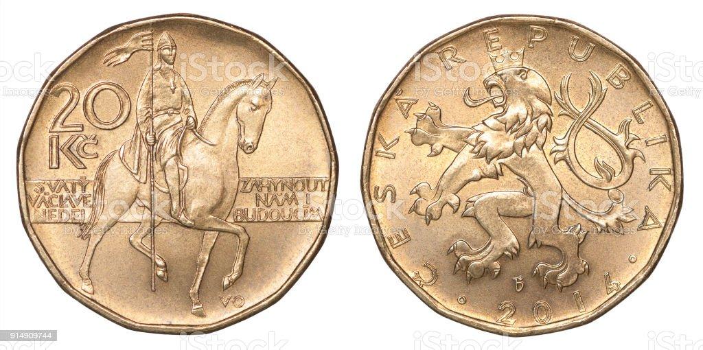 Coin Czech korun stock photo
