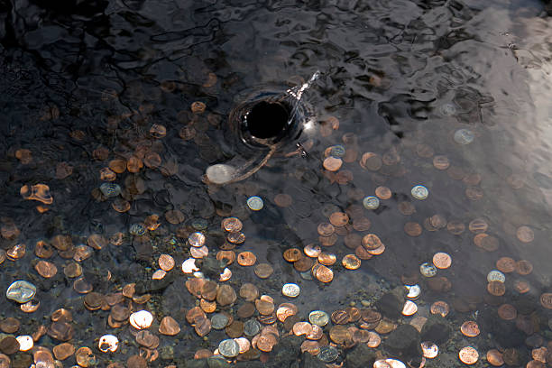 Coin entering wishing well stock photo