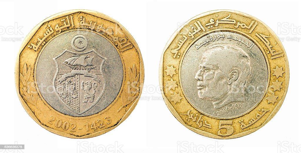 Coin five dinars. Tunisian Republic stock photo