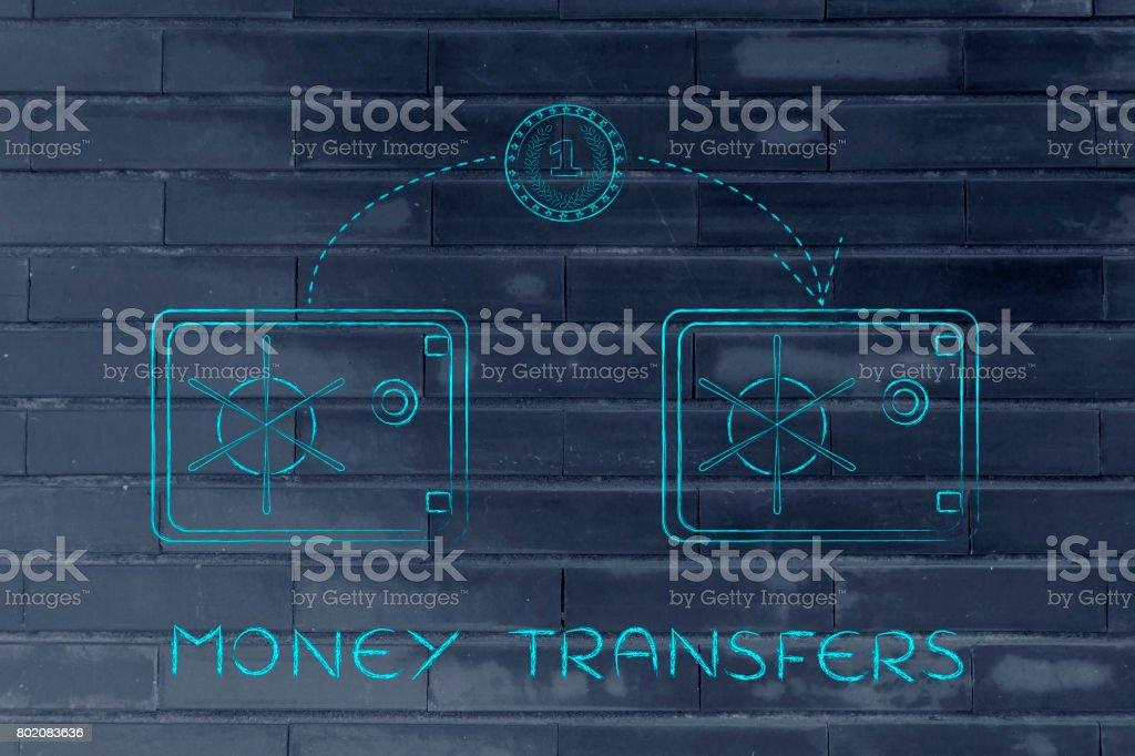coin flying from one safe to another, money transfers stock photo