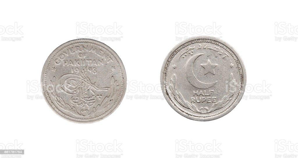Coin half rupee. Islamic Republic of Pakistan. 1948 stock photo