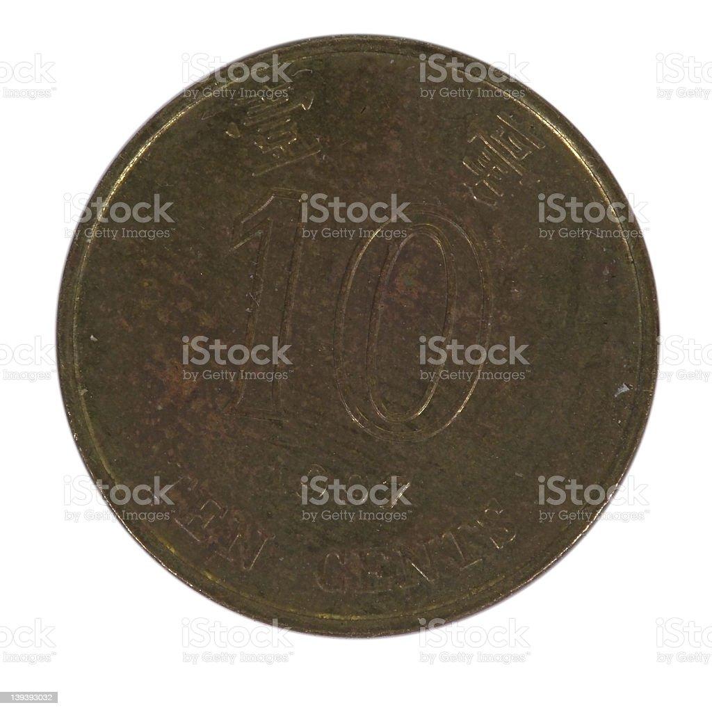 Coin Hong Kong Ten Cents royalty-free stock photo