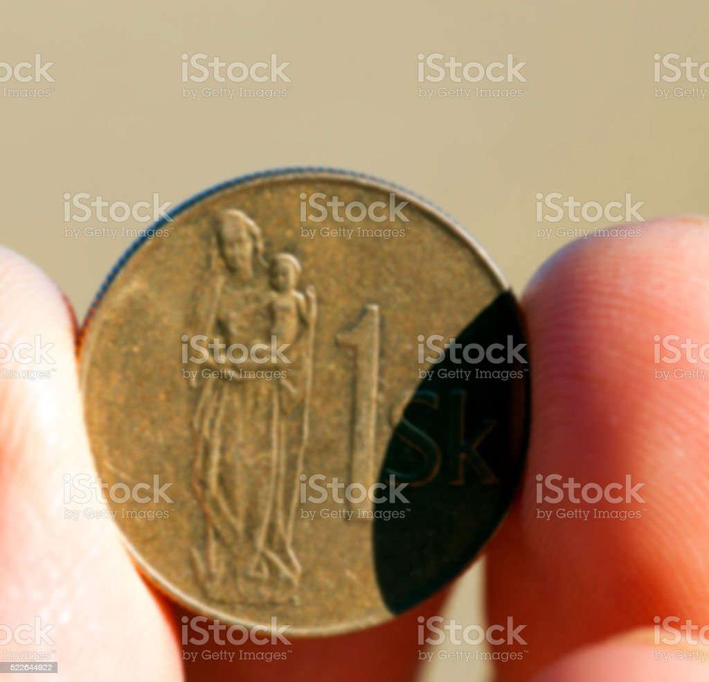 coin in hand stock photo
