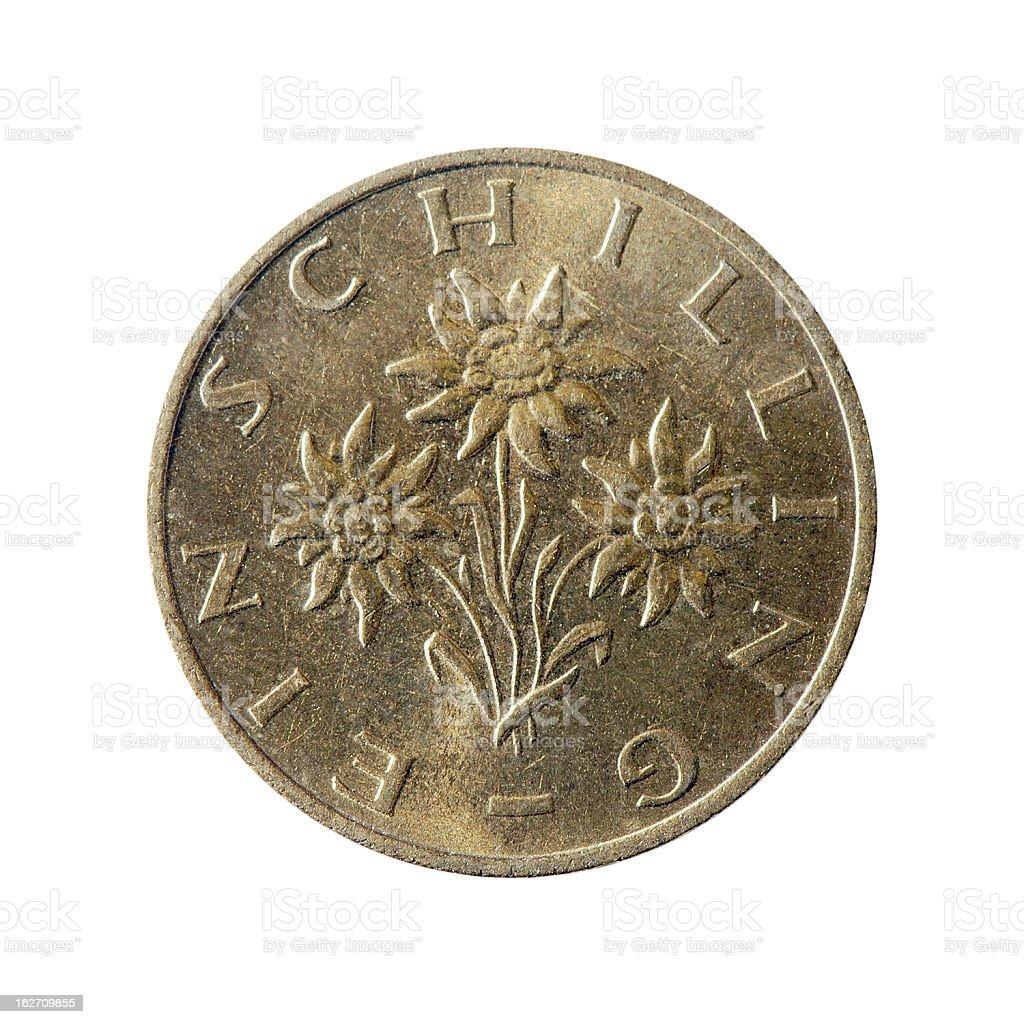 Coin macro isolated on white: 1 Austrian Schilling stock photo