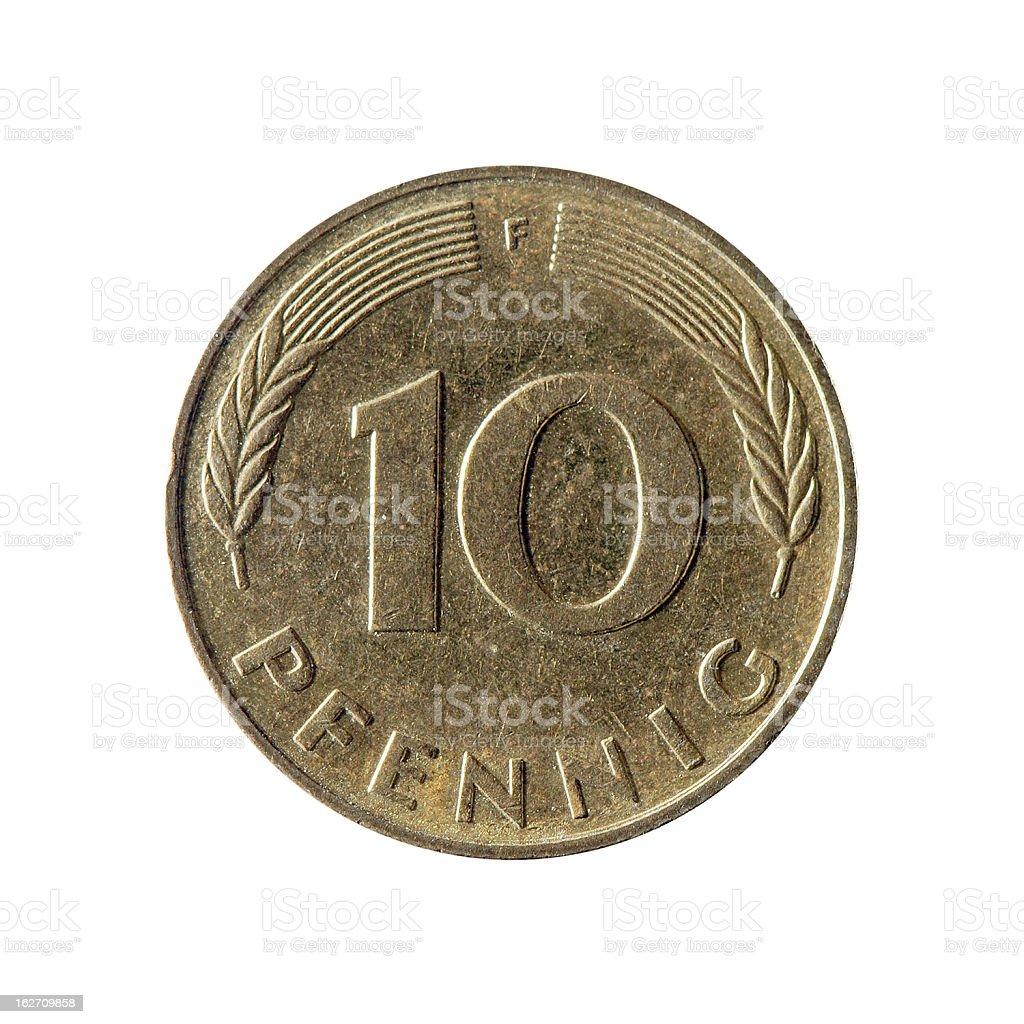 Münze Makro Isoliert Auf Weiß Deutsche Pfennig 10 Stock Fotografie