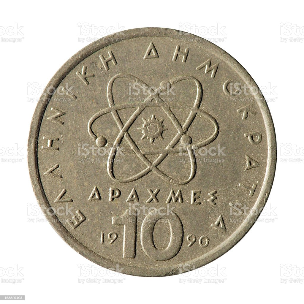 Coin macro isolated on white: 10 Greek Drachma stock photo