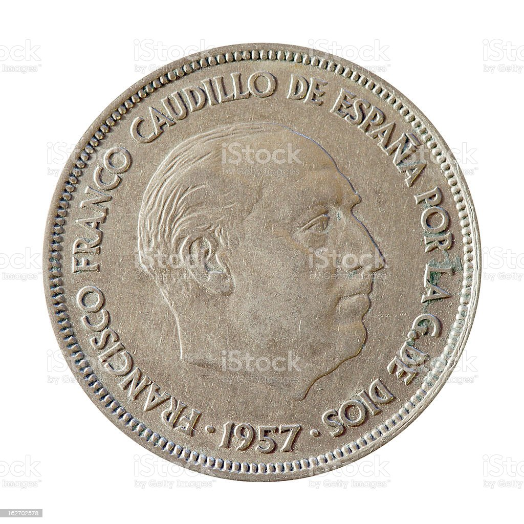 Coin macro isolated on white: 25 Spanish Pesetas stock photo