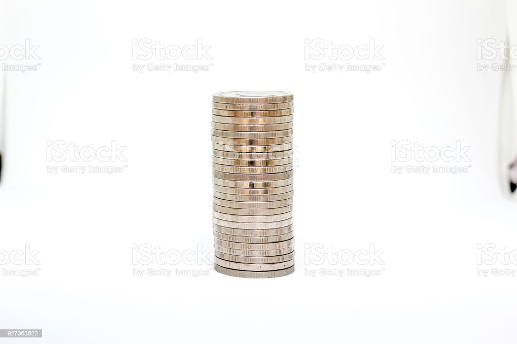 Coin money in vertical on white background - Royalty-free Bank - Financial Building Stock Photo