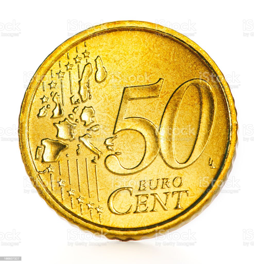 coin of 50 euro cent stock photo