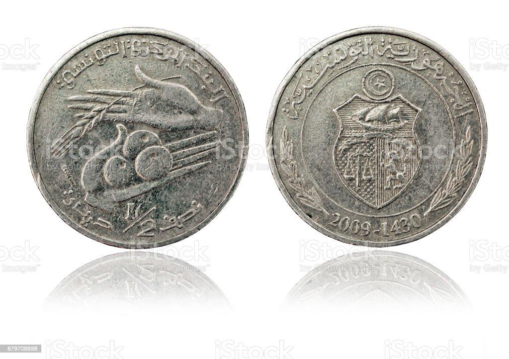 Coin one dinar. Tunisian Republic stock photo