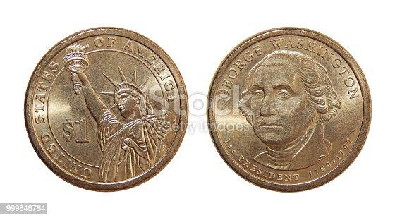 Coin one US dollar George Washington
