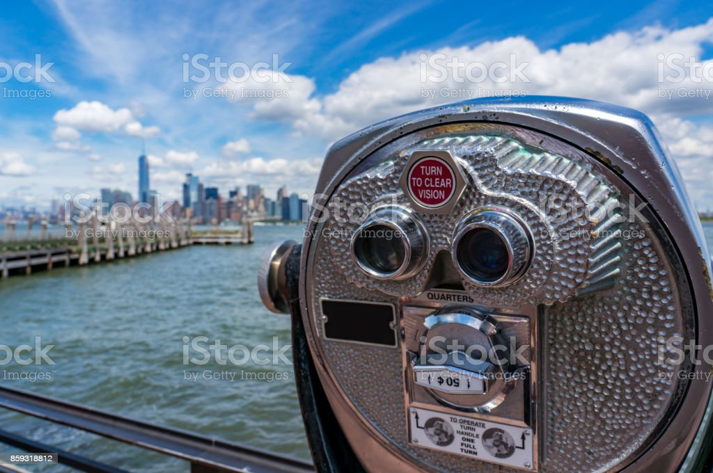 Coin operated binocular machine stock photo