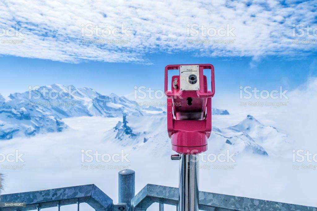Coin Operated Binocular viewer in Schilthorn Piz Gloria from Murren,Switzerland stock photo