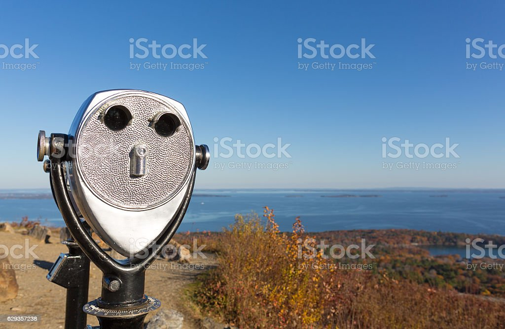 Coin operated binoculars above Camden Maine in the late fall. stock photo