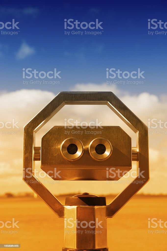 coin operated binoculars in sunlight stock photo