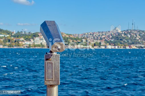 Coin operated city binoculars for sight seeing with sea and Bosphorus Strait view in Istanbul.