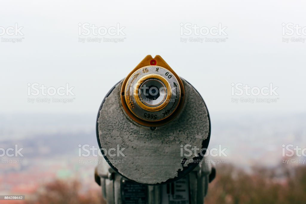 Coin operated binoculars on the viewing platform royalty-free stock photo