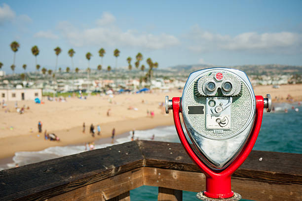 coin operated telescope at Newport Beach Pier stock photo