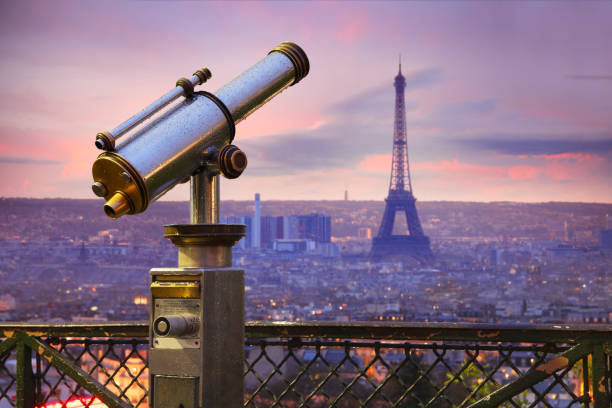 Coin operated telescope with Eiffel tower in Paris stock photo