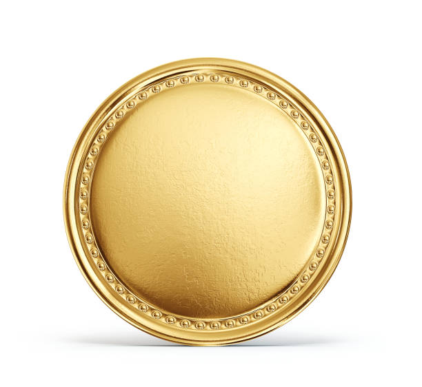 coin gold coin sign isolated on a white backgrond. 3d illustration medal stock pictures, royalty-free photos & images