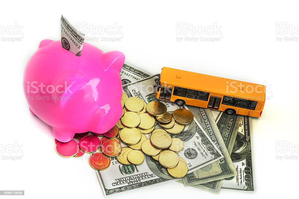 coin piggy bank and American dollars. stock photo