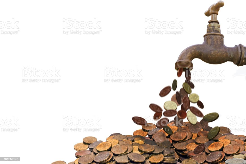 coin pouring faucet stock photo