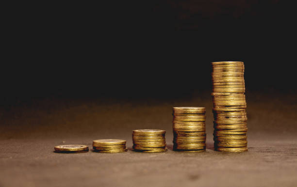 coin stack increase profit stock photo