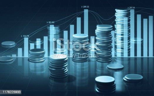 Coin stacks and blue bar and line graphs on black background. Horizontal composition with selective focus and copy space.