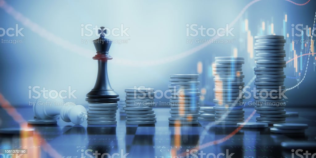 Coin Stacks And Chess King Pieces On A Chessboard Stock
