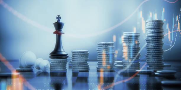 münze-stacks und schachkönig figuren auf einem schachbrett - niederlage stock-fotos und bilder