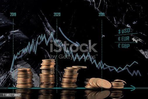 467271788 istock photo Coin stacks and receding economy graphs. Conceptual image of the economical situation and possible upcoming crisis in 2020. 1185273847