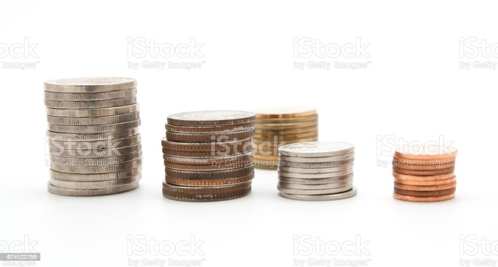 Coin stacks on a white background 免版稅 stock photo