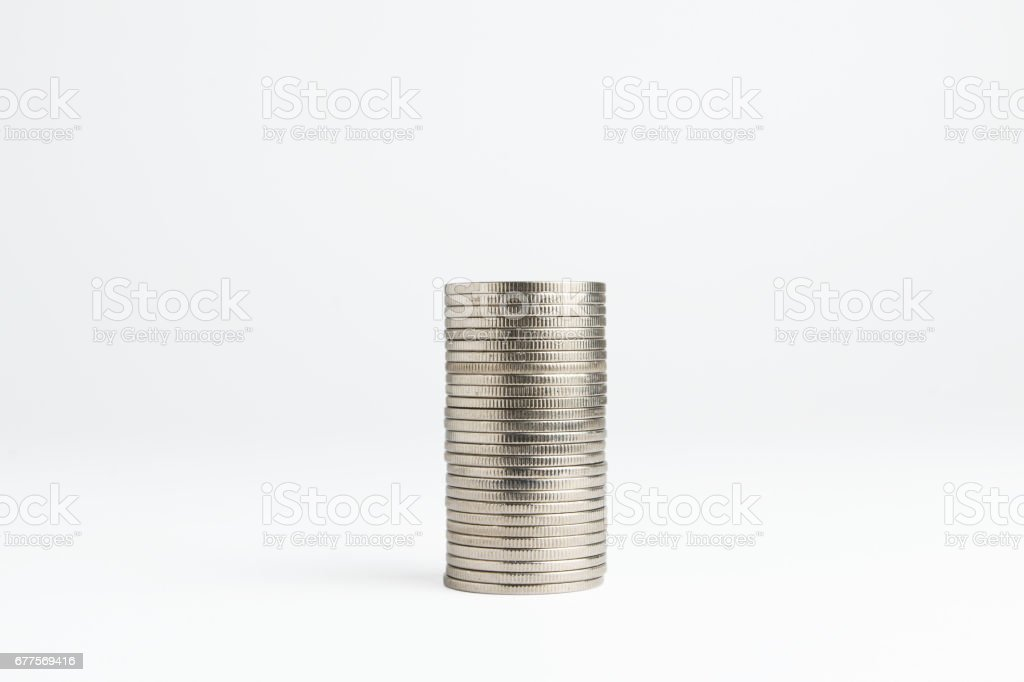 Coin stacks on a white background royalty-free stock photo