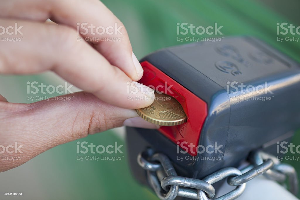 Coin to open lock stock photo