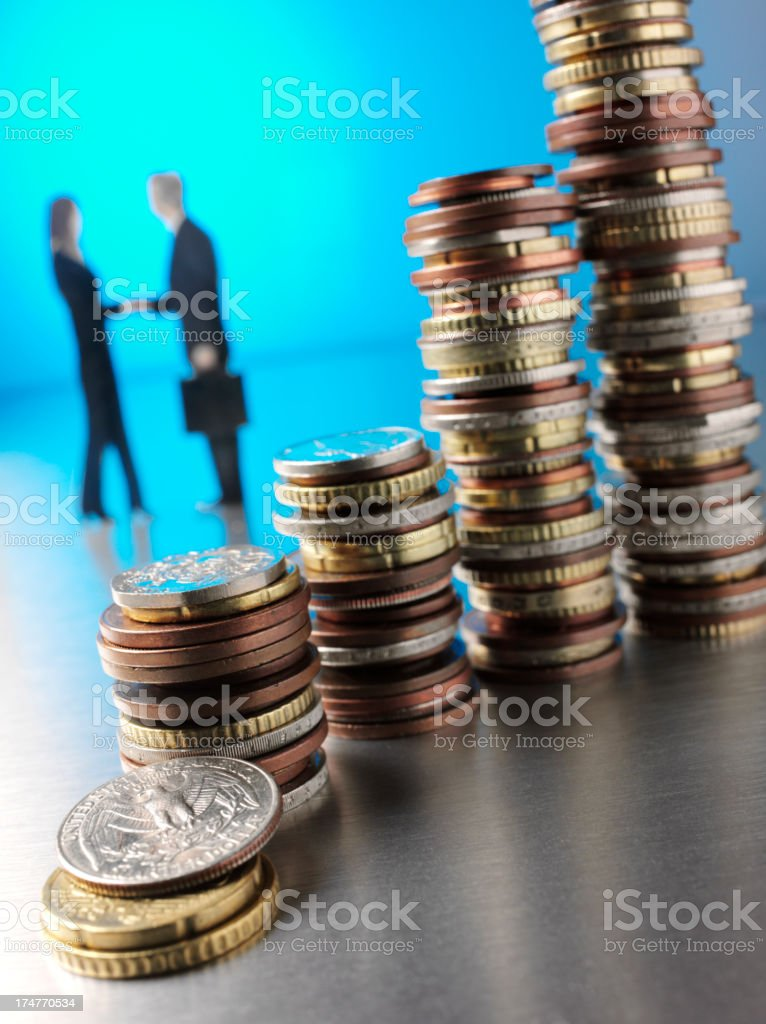 Coin Towers in American Currency royalty-free stock photo