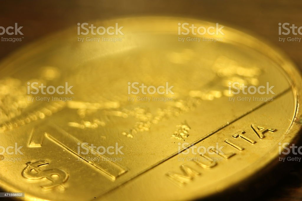 $1 coin uruguay stock photo