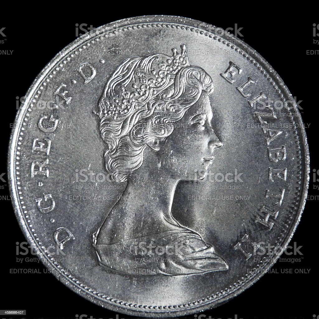 UK Coin with Portrait of Queen Elizabeth II royalty-free stock photo