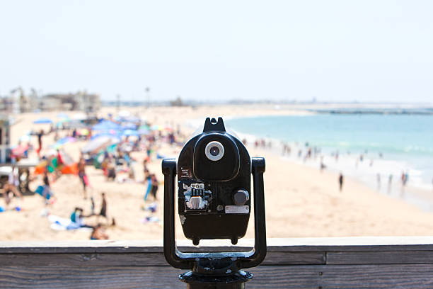 Coin-Operated Scope Overlooking a Beach stock photo
